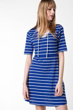 Mavi Kadın Bağcık Detaylı Çizgili Elbise 415559 | DeFacto