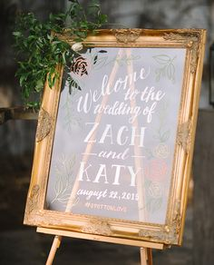 Hand lettered, hand drawn Wedding Welcome Sign - gold framed acrylic (like glass)