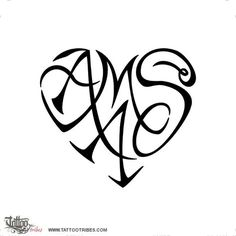 A+M+A+S heartigram Bond This tattoo was requested by Simona to symbolize the union existing among the… Tattoos Meaning Family, Tribal Tattoos With Meaning, Family Tattoos, Sister Tattoos, Child Tattoos, Monogram Tattoo, Tattoo Script, Tattoo Fonts, Tattoo Initials