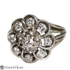 spectacular inel Belle Epoque - aur 18k si diamante 0,71 ct - Franta