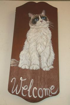 Ragdoll Cat Hand Painted Welcome Sign Plaque by daniellesoriginals, $22.00