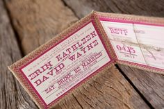 Erin + David's Rustic Pink + Burlap Wedding Invitations