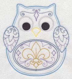 2 Adorable Fleur de lis owls fabric sewing quilt blocks squares