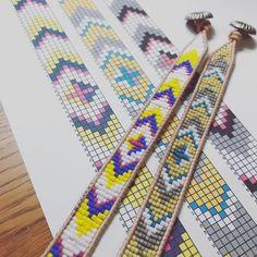 Fabulous Wrapit Loom Bracelets! Repost from @mutine_lycka_kapurago - Excel の新しい使い方。 . . #ラップブレス #図案 #ブレスレット #ラダーワーク #wrapitloom