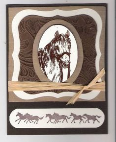 On the Range (bb) by triasimite - Cards and Paper Crafts at Splitcoaststampers Theme Sport, Thank U Cards, Horse Cards, Fabric Cards, Horse Birthday, Scrapbook Cards, Scrapbooking, Birthday Cards For Men, Leather Sectional