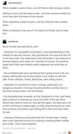 The character that keeps dragging on is a beloved and strong character, and maybe even readers don't know the extent of the injuries, at least not right away, and during the crisis they can't do anything.