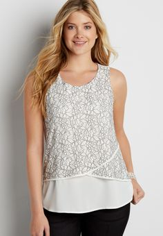 knit tank with chiffon and lace front (original price, $26.00) available at #Maurices