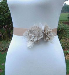 Rustic Wedding Dress Sash  Muslin Floral Bridal by SorellaSashes