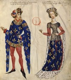 Marie de Berry and her third husband John I Duke of Bourbon,c.1450