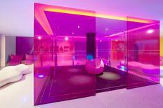 Nhow Hotel - Gym Design, Booth Design, Glass Partition Wall, Cosmetic Design, Space Architecture, Hotel Lobby, Modern Interior Design, Cool Designs, Karim Rashid
