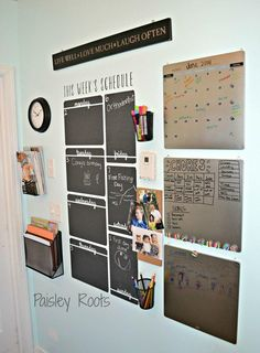How To Start A Business Discover Vertical Week Schedule Chalkboard Vinyl Wall Decal Wallternatives chalkboard vinyl wall decal wall decor for organization schedule and calendar - decorated by Paisley Roots Family Organization Wall, Home Organisation, Family Organizer, Office Organization, Organization Station, Family Command Center, Command Center Kitchen, Command Centers, Kids Homework Station