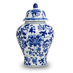 OneWorld Memorials Blue Floral Ceramic Cremation Urn - Large - Holds Up to 200 Cubic Inches of Ashes - Blue Ceramic Urns - Engraving Sold Separately Blue Pottery, Ceramic Pottery, Pet Cremation Urns, Jar Art, Blue And White Vase, Keramik Vase, Chinese Ceramics, Pottery Designs, Blue China
