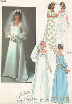 UNCUT Vintage 1970s Simplicity #8392 WEDDING GOWN, BRIDESMAID DRESS