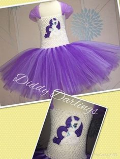 My Little Pony Tutu Dress. Rarity Tutu Dress.   Beautiful & lovingly handmade.   Price varies on size, starting from £25.  Please message us for more info.   Find us on Facebook www.facebook.com/DiddyDarlings1 or our website www.diddydarlings.co.uk