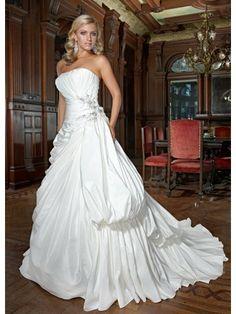 Taffeta Strapless Softly Curved Neckline Gathered Bodice A-line Wedding Dress