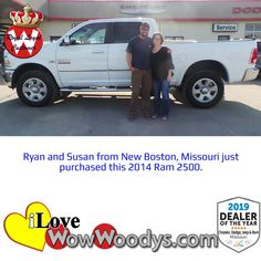 Ryan and Susan were over the moon excited to purchase this 2014 Ram 2500! Congratulations! 🎉 #wow #wowwoodys #woodysautomotive #cars #trucks #suvs #carsforsale #trucksforsale #suvsforsale #kansascity #chillicothe #customerreviews #customertestimonials #wowcarbuying #carshopping #happycustomers #2014ram2500 #2014ram #ram2500 #ram #2500