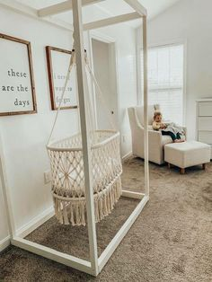 Lauren Stewart- Nursery Decor, Hanging Bassinet, Macrame Loving our new Hanging macrame Bassinet! It's adds such a special touch to our nursery! Baby Room Decor, Nursery Room, Kids Bedroom, Nursery Decor, Wood Bedroom, Earthy Bedroom, Bedroom Windows, Boho Nursery, Nautical Nursery