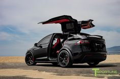 Custom Black Tesla Model X with MX115 22 inch Forged Wheels in Matte Black by T Sportline