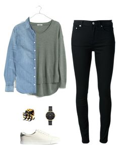 """""""Untitled #361"""" by wlong430 ❤ liked on Polyvore featuring BLK DNM, Madewell, J.Crew, H&M and Skagen"""