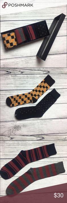 🆕the perfect box set of Men's dress socks Our boxed fancy dress socks are the perfect gift for the professional man. Details: 3 pairs of socks - 30% cotton, 67% polyester, 3% spandex 1 pair of socks - 80% cotton, 15% polyester, 5% spandex Sock Size: One size fits 8-13 Machine wash socks, tumble dry low Imported socks 4 pairs of socks to a box Dorimas Closet Underwear & Socks Dress Socks