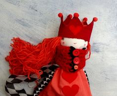Queen of Hearts / Stuffed Doll/ Handmade by thedollsunique on Etsy