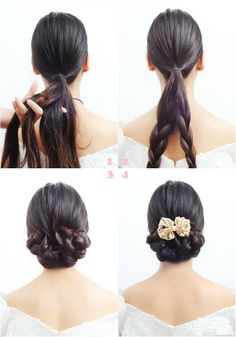 Put hair in low hanging ponytail and separate hair into equal sections, braid each section and tie end of braids. Loosely twist and pin braid up using bobby pins. Adjusting as needed. Repeat with other braid. Decorate with flowers or bows.