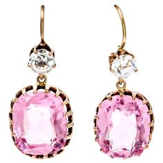 Victorian Pink and White Paste Earrings   1stdibs.com