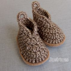 Joe's Toes - Bruna Baby Boots Crochet Kit with wool felt soles and soft sheen yarn.
