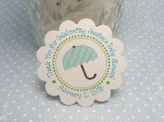 Turquoise blue and sage green umbrella baby shower tags & notecards  -  RESERVED via Etsy