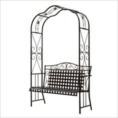 Wrought Iron Garden Arch with Bench, mine is similar, I love to sit in my garden, drink coffee & listen to the birds sing.