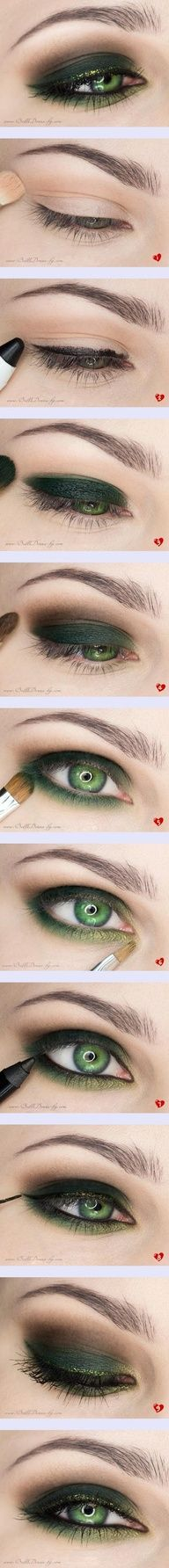 Makeup for green eyes | doing a black lid that is smoked out with warm browns will make the eye brighter and warmer, adding the gold liner compliments the gold in the eyes and the olive smoked out bottom lash line and inner corner makes the green eyes bigger and pop.