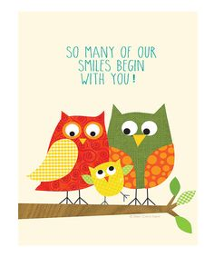 Take a look at this Beige 'Smiles' Owl Print by Ellen Crimi-Trent on #zulily today!