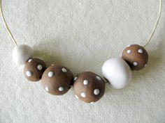 Brown & White Dot Beads 6 Stoneware by TinasBeadMind on Etsy, $17.00