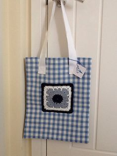 Blue check crochet tote