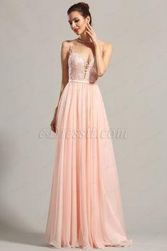76a37290ae9 Robe de soirée longue rose sans manche décolleté sexy (00155001) robe  edressit ...
