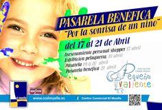 """PASARELA BENÉFICA     """"Por la sonrisa de un niño""""     -Asesoramiento personal shopper: 17 de abril     -Exhibición peluquería: 18 de abril     -Pasarela: 19 y 20 abril     -Pasarela benéfica: 21 abril     EVENTO:     https://www.facebook.com/events/208287572608008/"""