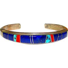 Navajo Ben Livingston Sterling Silver Lapis Coral Turquoise Channel Inlay Statement Cuff Bracelet Signed
