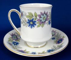 Paragon Cherwell Cup and Saucer Retro 1960s Bone China Groovy Blue Lavender Floral