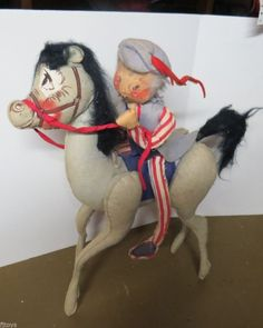"""RARE Annalee Yankee Doodle Dandy With Feather 18 """" 1971 Doll Horse Patriotic"""