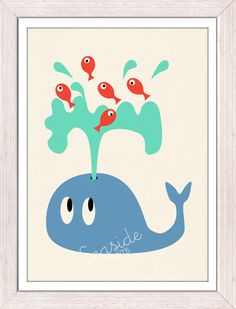 Nursery Art Print - Whale - Sea animal illustration wall decor - FREE SHIPPING WORLDWIDE. $12.00, via Etsy.