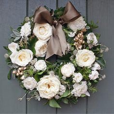 Gold and Ivory Wreath, £85 | The Real Flower Company