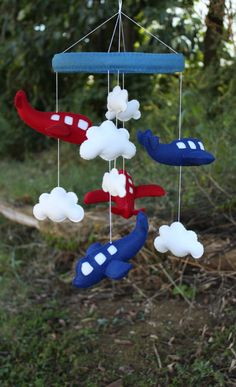 Blue and Red Airplane Mobile Baby Crib Mobile by LoveAllDesigns, $95.00