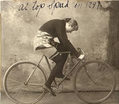 "Margaret Gast, the ""Mile a Minute"" gal. She was a world champion cyclist in the late 1800′s. And what a daring costume she is wearing!"