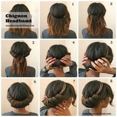 chignon, chignon headband, how to, hair, inspiration No Heat Hairstyles, Summer Hairstyles, Diy Hairstyles, Pretty Hairstyles, Bridal Hairstyles, Easy Hairstyle, Hairstyle Tutorials, Simple Hairstyles, Chignon Hairstyle
