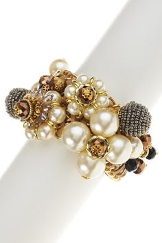 """Gold plated link bracelet with woven leather, faux pearl, acrylic and crystal beaded baubles  - Lobster clasp  - Approx. 6-8"""" length  - Imported"""