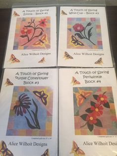 This is for the set of patterns for Alice Wilhoits A Touch of Spring. Includes 5 Block Patterns, Border Pattern and Assembly instructions. Completed quilt size 55x59. All new, never used.