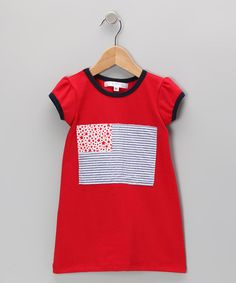 Take a look at this Red & Navy USA Flag Dress - Infant, Toddler & Girls by mini scraps on #zulily today!
