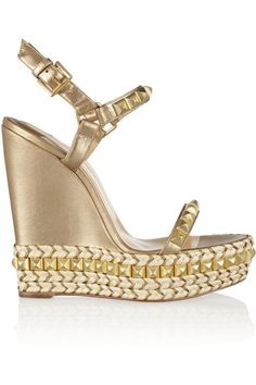 CHRISTIAN LOUBOUTIN Cataclou 140 embellished metallic leather wedge sandals