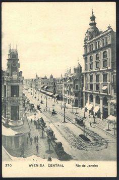 Rio de Janeiro - Avenida Central - Cartão Postal antigo original, nº 270, editado por A. Ribeiro, não circulado.