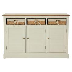 Dorset Cream Sideboard, MDF / Ash & Paulownia Veneer, 3 Doors / 3 Rattan Baskets